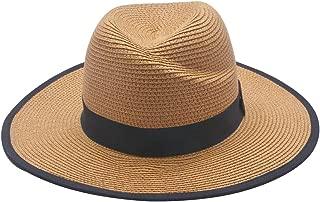 Unisex UV Protection Hat Packable & Adjustable Straw Hat Fedora Beach Sun Hat