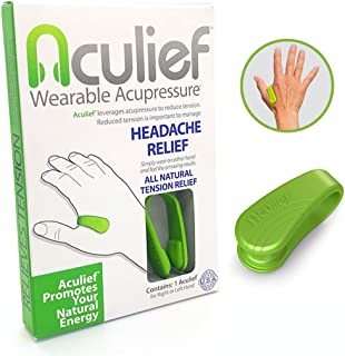 Aculief Wearable Acupressure Provides All Natural Tension Relief Using The LI4 Acupressure Point - Single Pack (Aculief - Green)