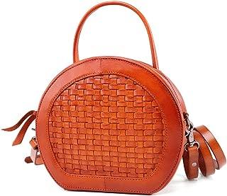 ZXK Black/Red/Brown Leather Handbag Fashion Ladies Shoulder Bag Vegetable Tanned Leather Retro Handmade Handbag Messenger Bag 20 * 8 * 18 (cm) Fashion (Color : Brown)