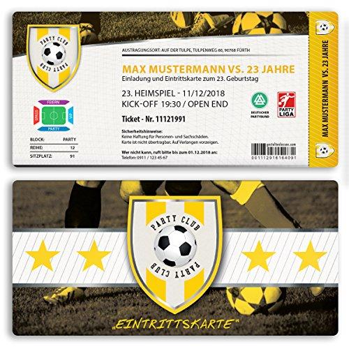 (20 x) Einladungskarten Geburtstag Fussball Kindergeburtstag Ticket Einladungen Gelb