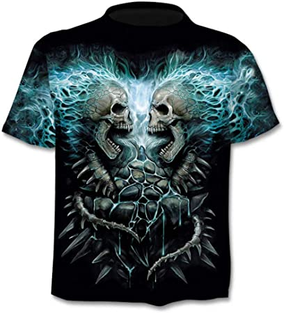RelaxLife Hombre 3D Estampado Camiseta Camiseta Calavera Hombre Mujer Heavy Metal Skull Camisetas Impresas En 3D Hip Hop Punk Estilo Camiseta Streetwear Tops