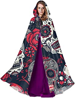 Day of The Dead Colorful Sugar Skull with Floral O Cosplay Hooded Cloak Adult Cloak Pattern 59inch for Christmas Halloween Cosplay Costumes