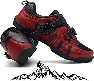 ZMYC Men Cycling Shoes Mtb No Lock Mountain Biking MTB Cycling Shoes Outdoor Sport Bicycle Shoes Anti-Slip Hard Bottom Lightweight (Color : Red, Size : 47)
