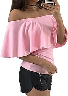 Sematomala Women's Off Shoulder Ruffle Short Sleeve Overlay Top Strapless Blouse Shirts Stretch T Shirt
