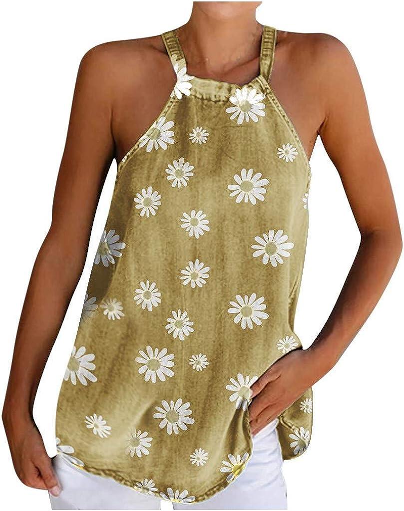Weginte Los Angeles Mall Women T Shirts Reservation Casual Sunflower Sleeveless Summer Halter