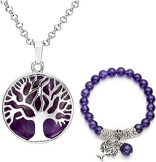 Jovivi Juego de joyas de piedras preciosas para mujer, plata