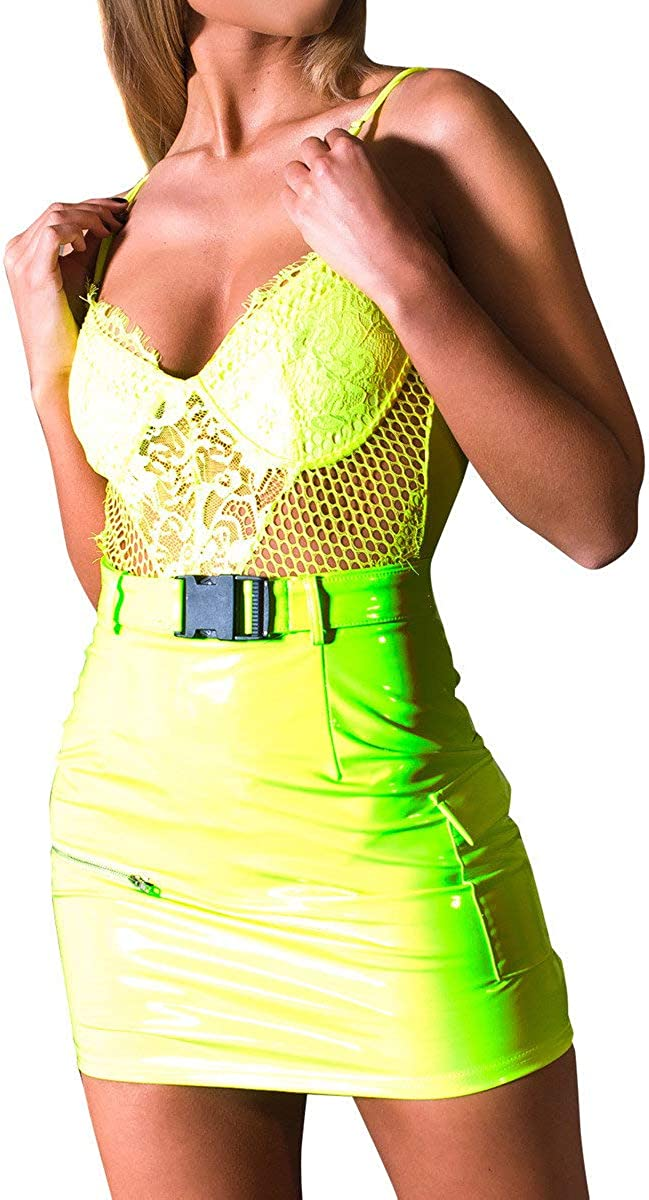 IKRUSH Womens Perry PU Belted Mini Skirt