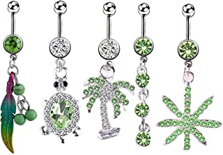 SOWUNO Belly Button Ring Rhinestone 5PCS Elegant Novelty Fashion Chic Stainless Steel Belly Ring Body Piercing Jewelry Tur...
