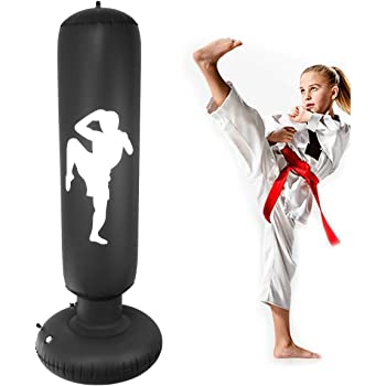 MMA 155cm 5ft Free Standing Punch Bag Inflatable Boxing Target Stand Tower Freestanding Punching Bag Tumbler Column Sandbag for Practicing Karate Taekwondo Kids Adults Boxing To