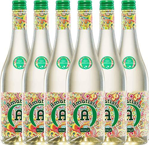 VINELLO 6er Weinpaket Perlwein - Amatista Moscato Blanco Frizzante - Anecoop | lieblicher Perlwein | spanischer Frizzante aus Valencia | 6 x 0,75 Liter