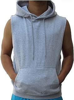 Sleeveless Hoodie Vest Solid Cotton Hoodie Vest Men's S-3XL Gray