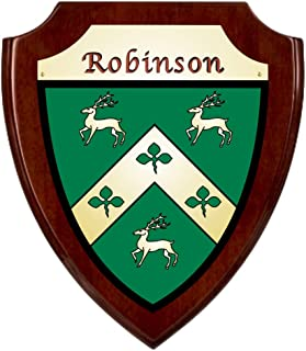 Robinson Irish Coat of Arms Shield Plaque - Rosewood Finish