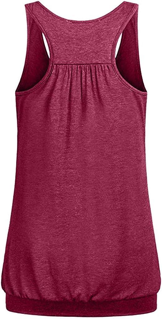 TUDUZ Damen Große Größe Camisole Rundhals Falten T-Shirt Weste Bluse Ärmellos Stretch Tunika Top Rot