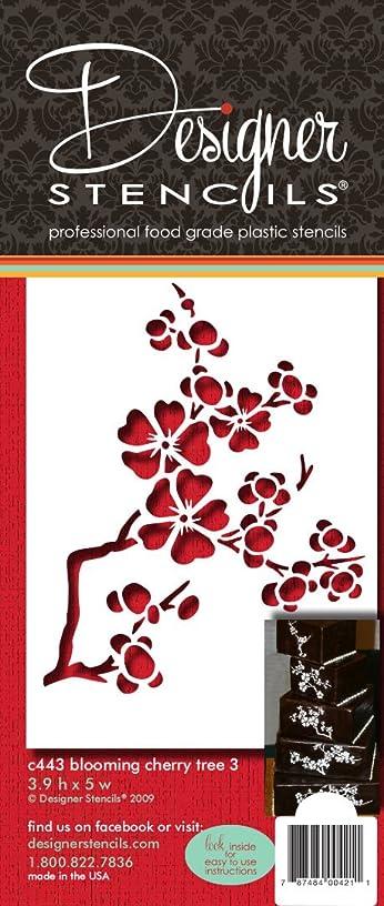 Designer Stencils C443 Blooming Cherry Tree Tier 3 Cake Stencil, Beige/semi-transparent