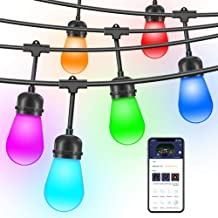 Govee Outdoor String Lights, Hanging Lights String Patio 36ft 12 Sockets Warmwhite & RGB Dimmable Waterproof Outdoor Lights Commercial Indoor String Lights for Patio Backyard Party, NOT CONNECTABLE
