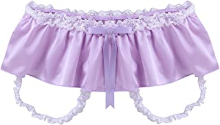 Freebily Men's Sissy Panties Shiny Satin Jockstrap Crotchless Skirted Briefs Thong Underwear