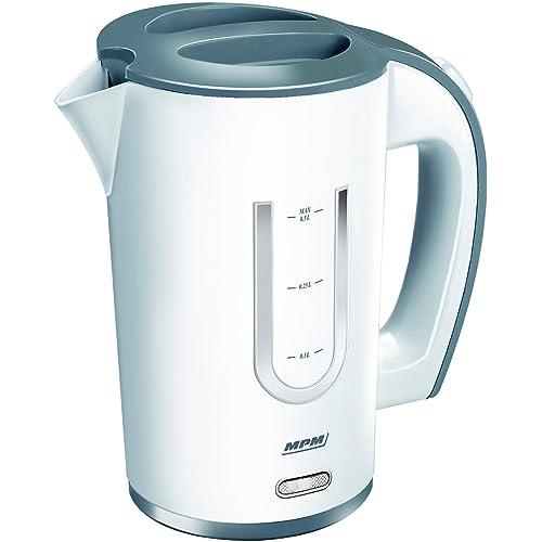 Mini-bouilloire MPM, Capacité de 0,5 l, Bouilloire électrique de voyage, Arrêt automatique, Théière électrique avec une puissance de 1000 W, Blanc/gris, livré avec 2 gobelets / tasses en plastique