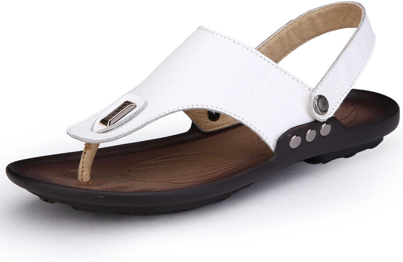 LXXAMens Summer Beach Flip Flops Real Leather Thong Sandals Open-Toe Sandals Trekking shoes