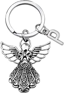 KUIYAI Guardian Angel Protection Keychain with Initial Letter Memory Keyring Daughter or Son Personalised Gift