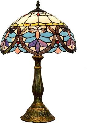 Lampe Tiffany W12H18 - Amour bleu - Ombre baroque antique - Lampe de table - Socle - Lampe de lecture - Amoureux - Salon - Chambre à coucher - Bar - Artisanat - Cadeau