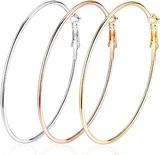 3 Pairs Big Hoop Earrings,Stainless Steel Hoop Earrings 14K Gold Plated Rose Gold Plated Silver for Women Girls Sensitive Ears(3 Colors Set)