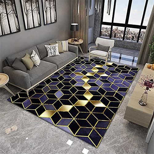 Alfombra para Salon Alfombra del Piso Geometría Tridimensional contemporánea Sala de Estar Dormitorio Pila Corto Alfombra Grande Alfobras De Salon 100x200cm