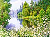Kit de bordado 5d punto de cruz primavera paisaje mosaico diamante flor de cerezo lago DIY diamante pintura A5 45x60 cm