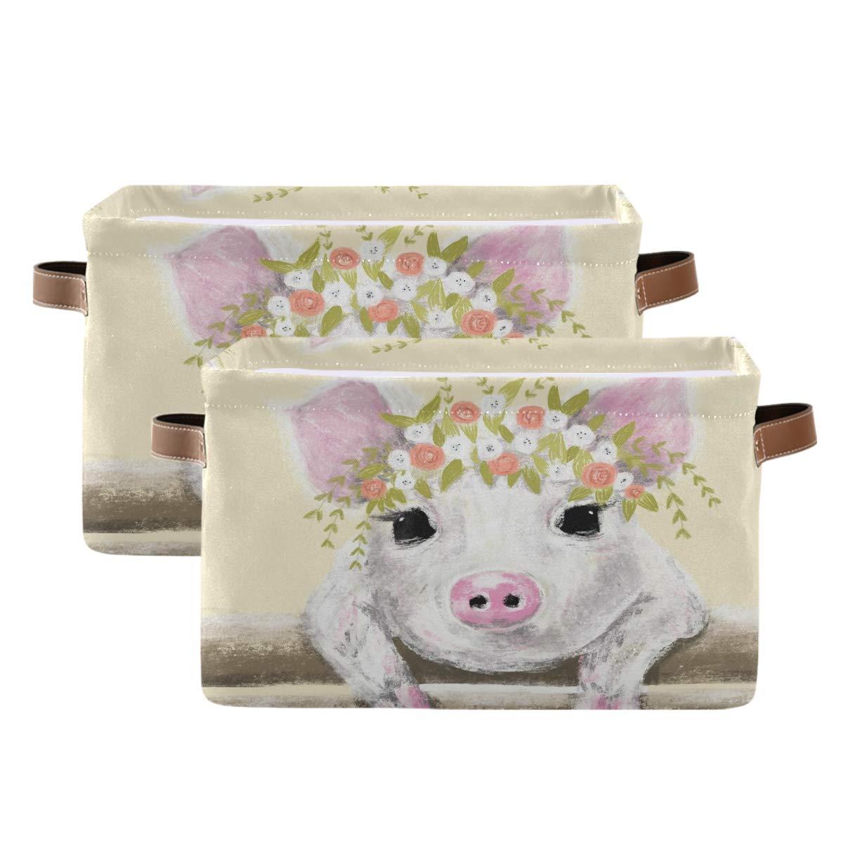 WXLIFE Storage Max 82% OFF Basket Cheap bargain Bins Art Large Painting Pig Animal