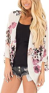 MOSE S.E, Bedruckte Strickjacke für Frauen, Sommer Bluse Floral Print Chiffon Boho Stil Kimono Cardigan Oversized (Weiß, 2 X L)