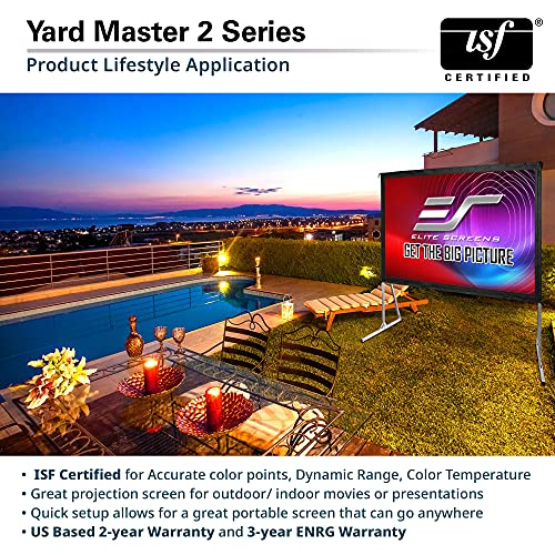 Elite Screens Yard Master 2, 120-inch Outdoor Indoor Projector Screen 16:9, Fast Easy Snap On Set-up Freestanding Portable Movie Foldable Front Projection | US Based Company 2-YEAR WARRANTY, OMS120H2