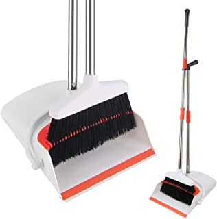 HomTrip Broom and Dustpan Set, Upright Dust Pan and Broom with 51