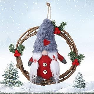 baohuqusihanjin.us Plush Gnome Rattan Wreath Christmas Garlands with Swedish Santa Tomte Front Door Wreaths for Home Kitchen Wall Window Hall Decor