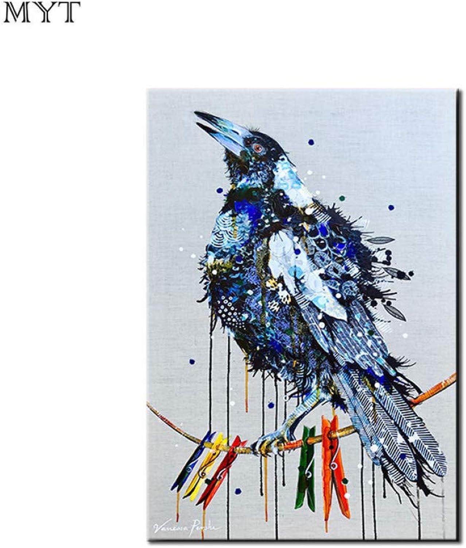 nueva gama alta exclusiva MYT La Pintura Pintura Pintura al óleo sobre Lienzo para la Sala de Estar Decorativa casera Moderna Moderna Hecha a Mano Animal Azul pájaro Foto del Arte de la Parojo  calidad garantizada