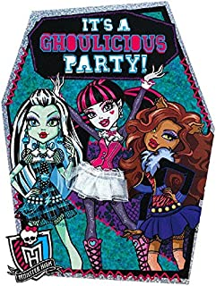 amscan Monster High Ghoulfriends Deluxe Jumbo Postcard Party Invitation, Paper , 8