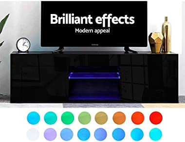 MODAA UV High-Gloss RGB LED Light TV Stand Entertainment Furnitures, Push-to-Open Cabinets and Two Open Tempered Glass Shelve