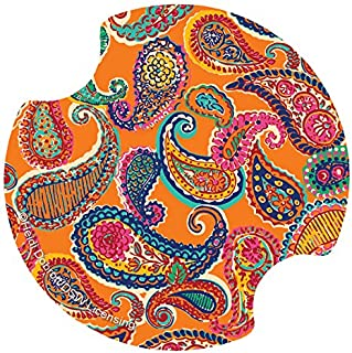 Thirstystone Colorful Paisley Car Cup Holder Coaster, 2-Pack