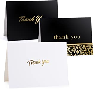 50 Gold Foil Thank You Cards Bulk - Thank You Notes - Blank Note Cards with Self Seal Envelopes - Perfect for Business, Wedding, Gift Cards, Graduation, Baby Shower, Funeral