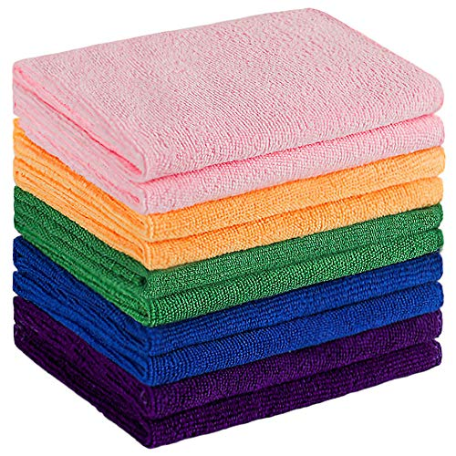 Microfiber Cleaning ClothSofter Highly Absorbent MultiPurpose TowelDomestic Cleaning Cloth with Reusable and LintFreeDust Cloths for HouseKitchenCarWindow12quot 12quot 10 Pack5 Colors