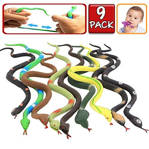 conjunto de juguetes de serpiente de 9 paquetes,La figura de serpiente del mundo zoológico mantiene los pájaros alejados. Juguete de Baño de Serpiente Falso y Blando del Jardín de Selva Tropical.