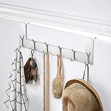 Ecooe Set van 2 deurhanglijsten, roestvrij staal, afneembare kledinghaken zonder boren, met 6 haken, haaklijsten voor deur...