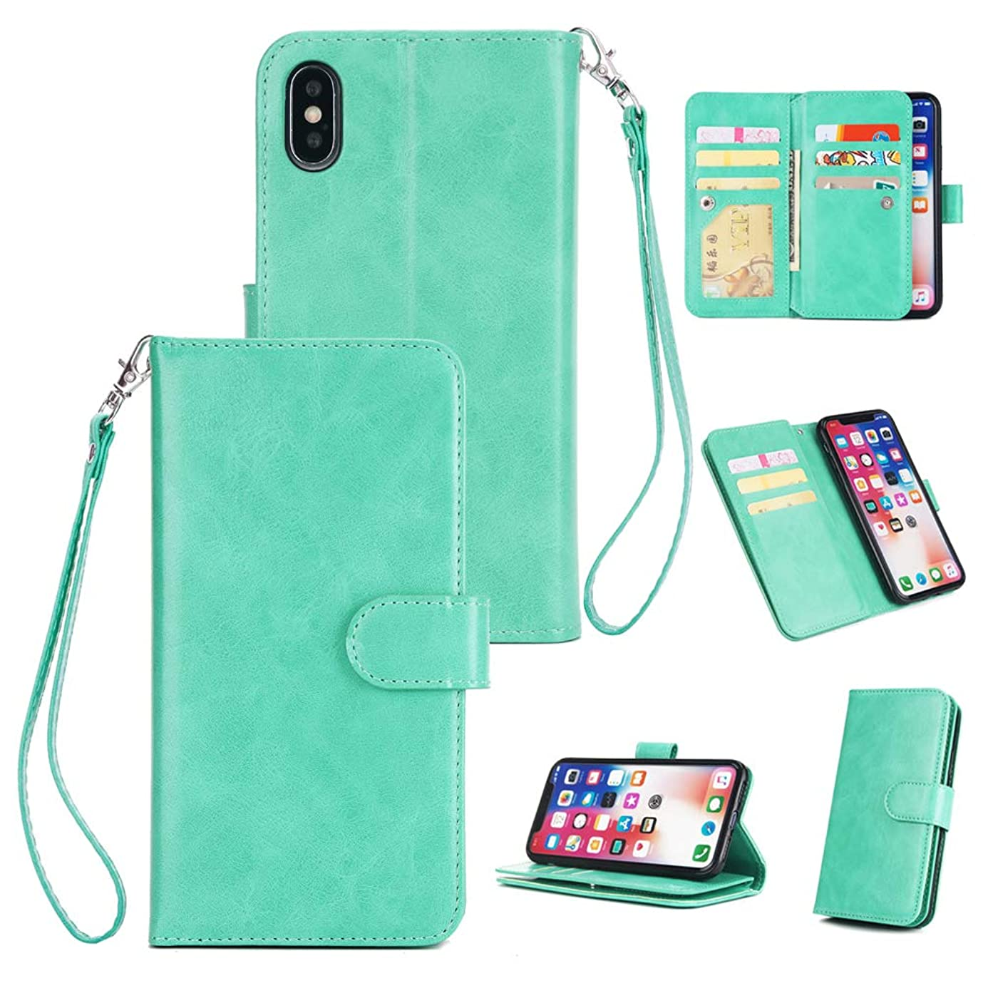 iPhone Xs Max Case, iPhone Xs Max 2018 Case Wallet Morden Simple Leather Cover Kickstand Multi 9 Card Slot Shock Absorption Bumper Magnetic Closure Shell Skin for iPhone Xs Max 6.5'' Edauto - Green