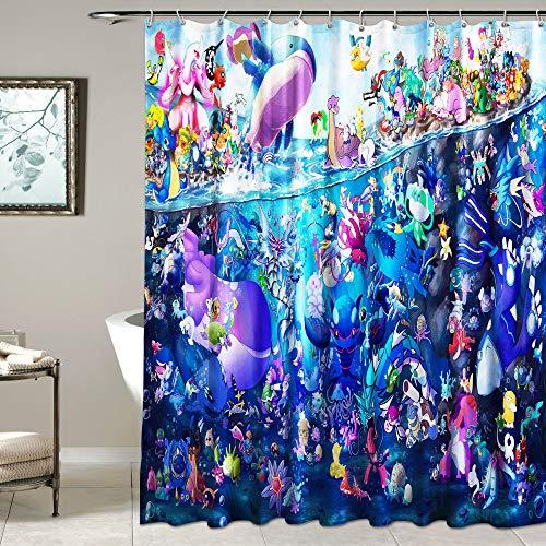Pokemon Duschvorhang für Badezimmer Wasserdicht Stoff Duschvorhang mit Haken 182,9 x 182,9 cm