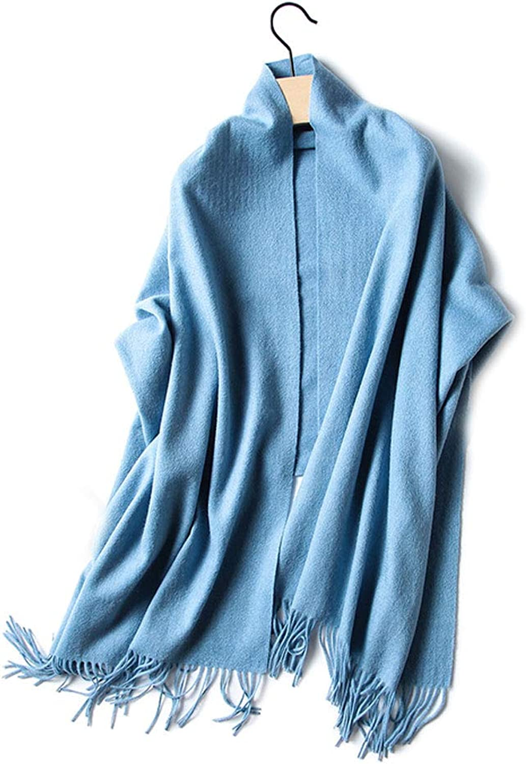 Solid color Scarf Thick Warm and Comfortable Autumn and Winter Section Ladies Long Section Wild Large Shawl Dual Purpose (color   bluee)