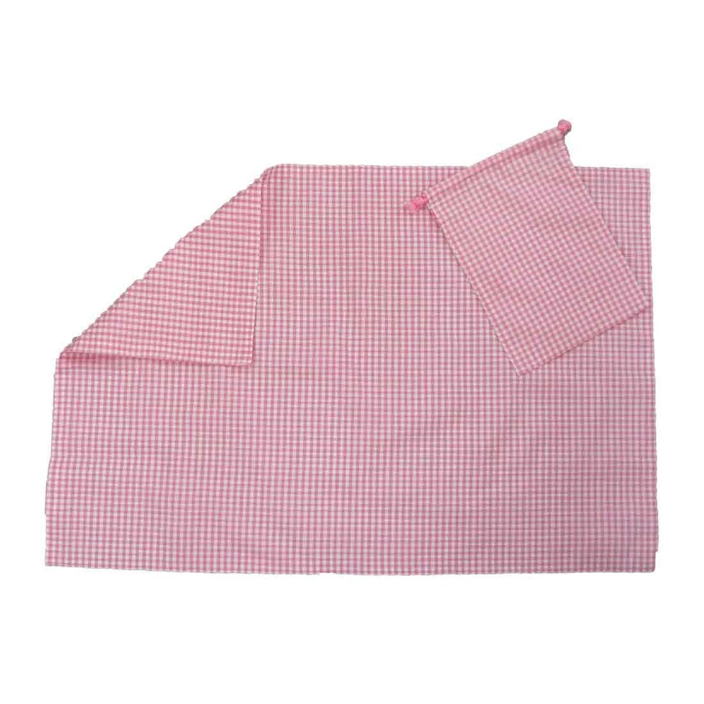 海賊コットン情熱的ランチマット ランチョンマット ピンクギンガムチェック 大きいサイズ 給食用 リバーシブル ランチマットセット 袋付き 巾着 収納 お弁当 入園 入学