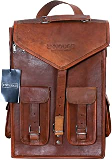 ENVOUGE INDIA Genuine Vintage Leather MacBook Briefcase 2-in-1 Leather Messenger Bag School Bag Backpack Rucksack for Men and Women (Brown)