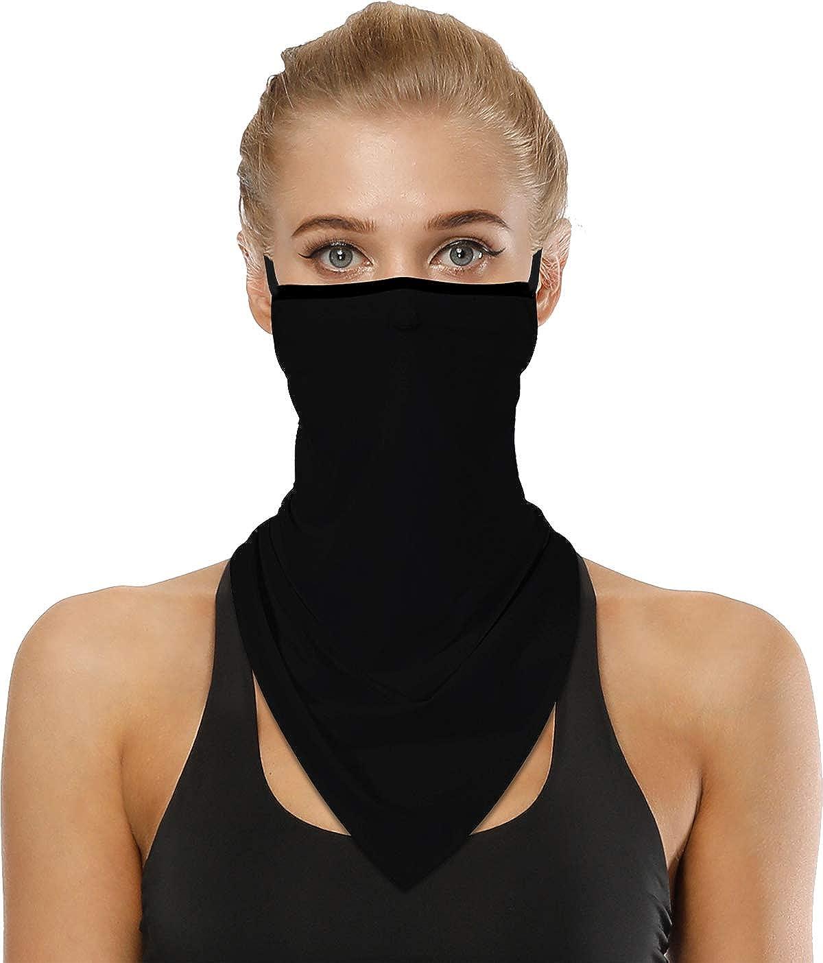 Face Bandana with Ear Loops Neck Gaiter Mask Scarf Balaclava Protection Man Woman Unisex