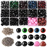 Hicdaw 760PCS Colorful Plastic Safety Eyes Doll Eyes with 270PCS Plastic Safety Eyes 110PCS Safety Nose 380PCS Washer Multiple Sizes for Doll Animal Puppet Craft Making Set