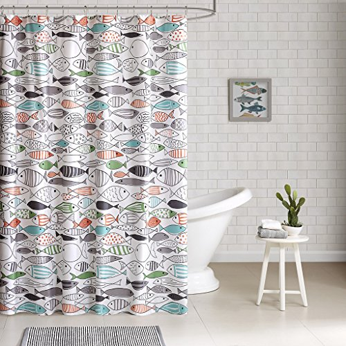 HipStyle - Sardinia - Modern Multi-color Fish - Cotton Printed - Designer Shower Curtain - 72' x 72' - Machine Washable