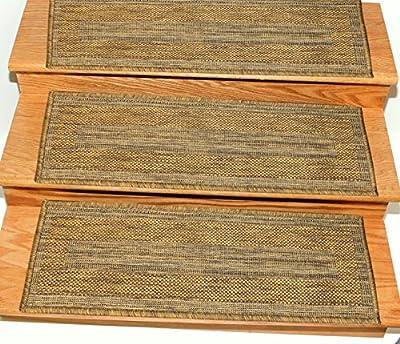 "Ottomanson Jardin Collection 9"" X 26"" Jute Back Indoor/Outdoor Carpet Stair Treads"