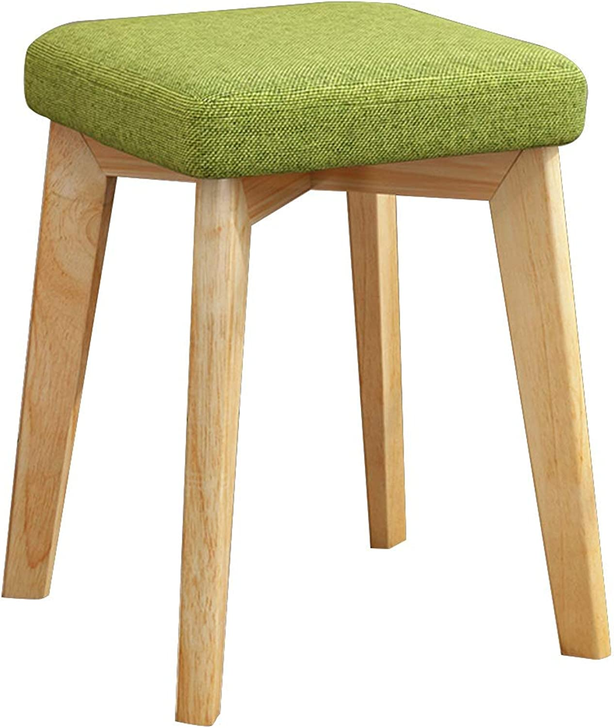 MEIDUO Chairs Solid Wood Low Chair Creative Modern Simple Stool with High Elastic Sponge and Felt Pad Home Bedroom Stool 32  32  45cm (color   Grass Green)